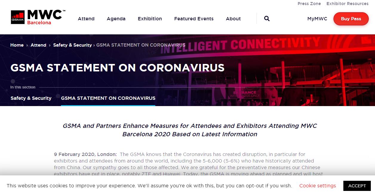 GSMA 就新型冠状病毒的通告以及应对措施