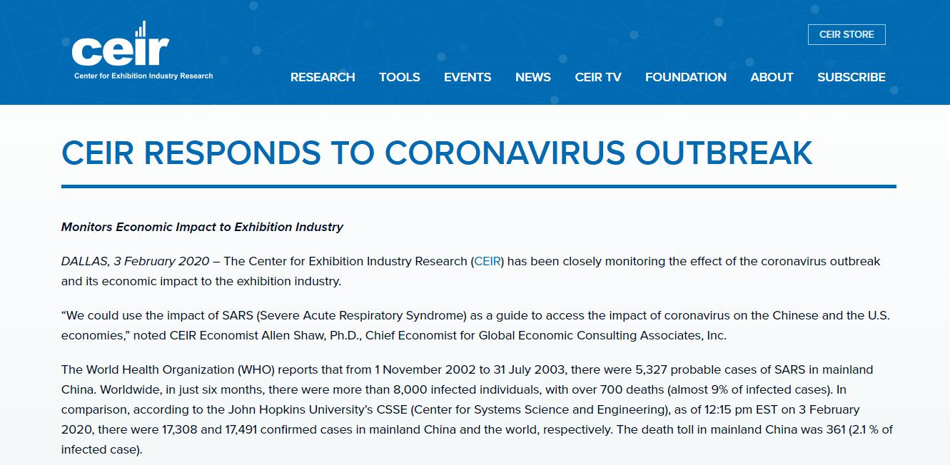 CEIR应对冠状病毒爆发